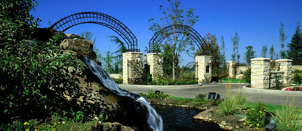 landscape entrance gates and waterfall